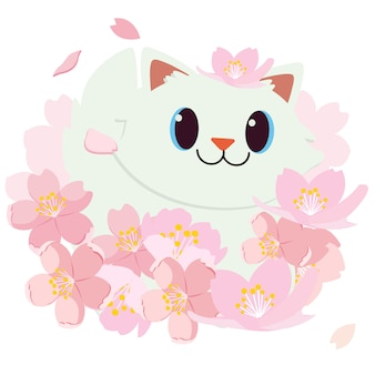 花見まつり。桜まつり。日本の祭り。幸せな猫は笑っています