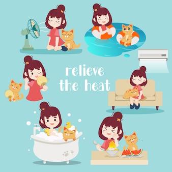 暑さを和らげるのコレクション。猫と一緒にお風呂に入っている女性。彼らはソファーに一緒に座っていて、エアコンを持っています。彼らは水中を泳いでいます。彼らはファンの前に座っていました。