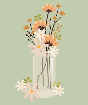 Цветок в банке. прозрачная банка имеет красивый цветок