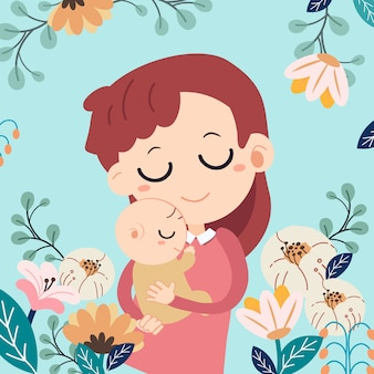 母の日カード母の日おめでとう 。母親と彼女の赤ちゃんと花