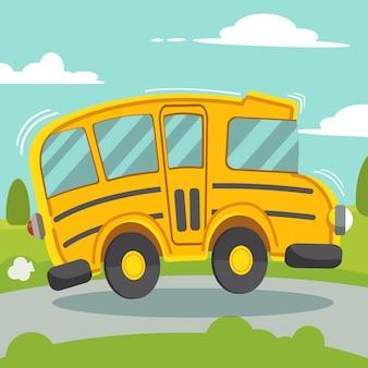 黄色いスクールバスが道路を走っている。横から見たスクールバス。