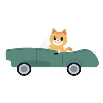 緑のスポーツカーを運転するキャラクターかわいい猫。猫は白い背景の上の緑の車を運転します。