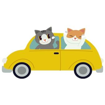 Персонаж милый кот за рулем желтой машины. кот управляя желтым автомобилем на белой предпосылке.