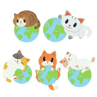 世界のコレクションは私のものです。地球上で寝ているキャラクターかわいい猫。猫から地球を救う。