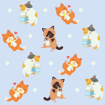 猫のシームレスパターンは牛乳が大好きです。猫のかわいいキャラクター