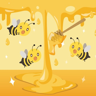 Группа пчел возбуждает с медом. мед падает на землю