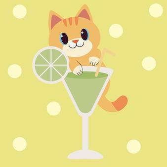 かわいい猫のキャラクターが透明なカクテルグラスを握ります