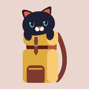 Персонаж симпатичного черного кота в дорожной сумке.