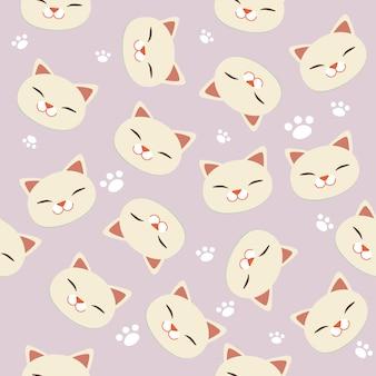 白猫と白の足跡のシームレスパターン。