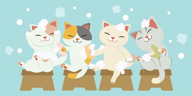 一緒に髪を洗うかわいい猫のキャラクター。猫は笑っていて、とても楽しいです。猫はたくさんの泡で髪を洗います。