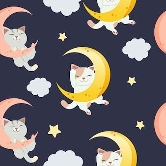 月の上に座ってかわいい猫のキャラクターのためのシームレスなパターン。猫が寝て笑っている。三日月と雲で寝ている猫