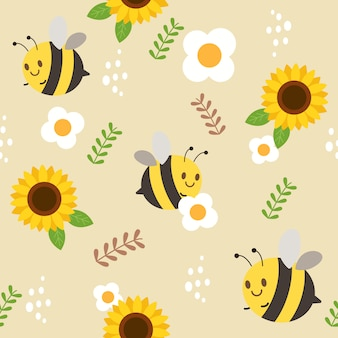 蜂とひまわりと白い花と葉のシームレスパターン。