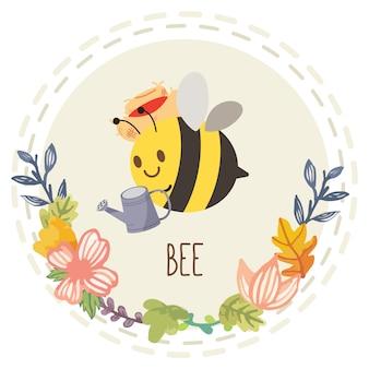 水を保持しているかわいい蜂のキャラクター漫画は花とその上を飛んでできます。