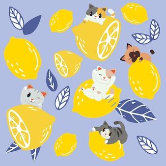 レモンと猫のグループと葉のシームレスパターン