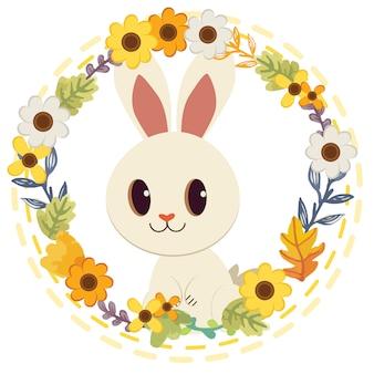 花の中に座っているかわいい白ウサギのキャラクター漫画。フラワーホイールに笑みを浮かべてかわいいウサギ。
