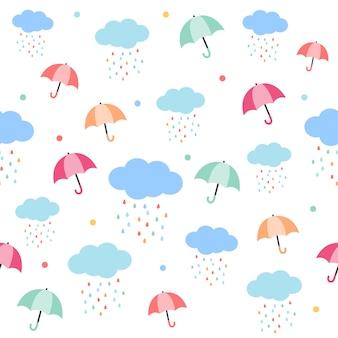 傘と雨の雲のシームレスパターン。傘の模様。雨滴は虹色で雲を形成します。フラットのベクタースタイルでかわいいパターン。