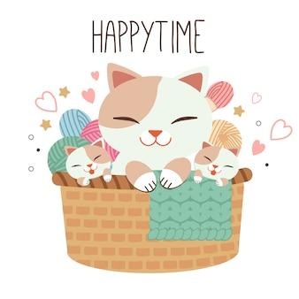 Характер семейного кота, сидящего на коричневой корзине. в корзине много пряжи. кошка играет с пряжей. характер милый кот в стиле плоских векторных.