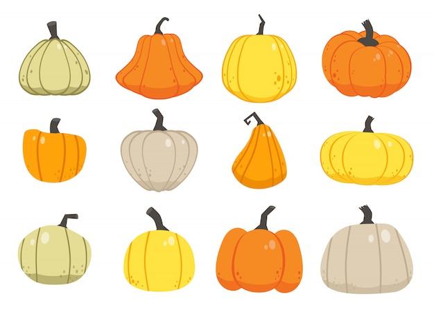 カボチャの多くのシームレスなパターン。秋かぼちゃセット
