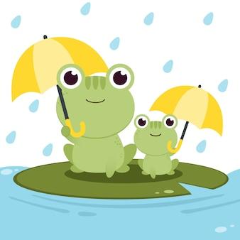 雨の中で傘を持ってカエルのキャラクター