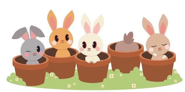 植木鉢に座っているかわいいウサギのキャラクター。