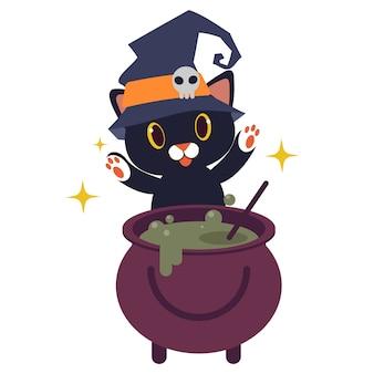 ウィッチポットを持つかわいい猫のキャラクター。