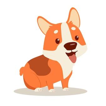 幸せな子犬コーギー