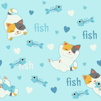 フィッシュボーンと恋にかわいい猫のキャラクターのシームレスなパターン背景。