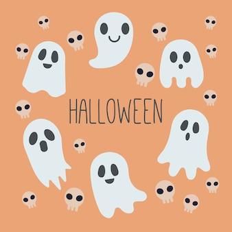 オレンジ色の背景に幽霊と頭蓋骨のパターン背景。幽霊と頭蓋骨のハロウィーンパーティー。