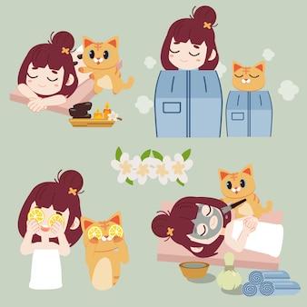 スパのコレクション。ホットストーンスパトリートメントでの少女と猫のキャラクター。