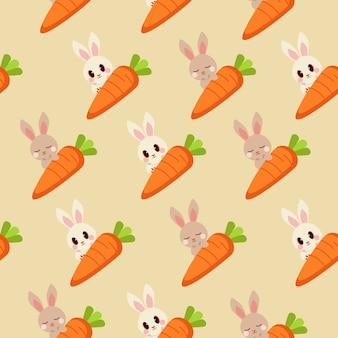 ニンジンとかわいい茶色のウサギと白いウサギのシームレスパターン