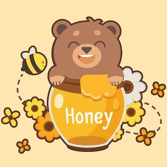 幸せな茶色のテディー・ベアは蜂蜜に満足し、いくつかの花と蜂があります。