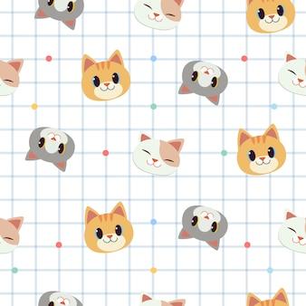白いスクラップブックパターン背景でかわいい猫のシームレスパターン。
