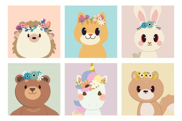 Коллекция персонажей ежа, кота, кролика, единорога и белки с кольцом цветка.