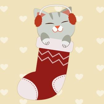 Персонаж милый кот и сидит в большом носке