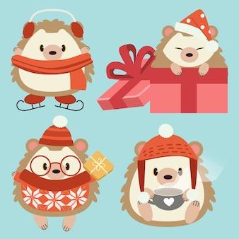 かわいいハリネズミのキャラクターのコレクションは、クリスマスのテーマセットでアクセサリーを着用します。