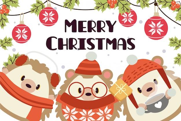 かわいいハリネズミのキャラクターとメリークリスマスのグリーティングカード