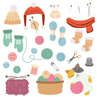 かわいい編み物セットのコレクション。大きなバスケットに糸のボールを入れ、スカーフと冬用の帽子と手袋と靴下をセットにします。フラットベクトルスタイルの糸で遊ぶかわいい猫のキャラクター。