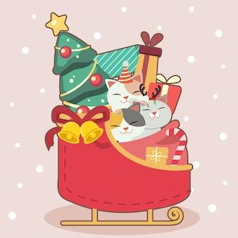 そりに座っているかわいい猫のキャラクター。そりでクリスマスツリーとギフトボックスとリボン付きベルがあります。