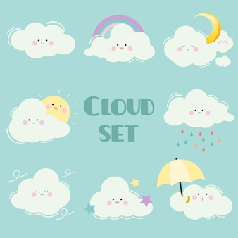 漫画クラウドセットのコレクション。多くの感情を持つかわいい白い雲のキャラクター。太陽と月と星と虹と傘の雲