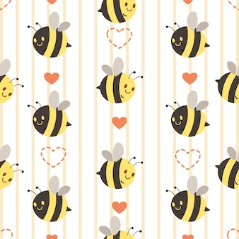 心でかわいい黄色と黒の蜂のシームレスなパターン。心のあるかわいい蜂のキャラクター。フラットベクタースタイルでかわいい蜂のキャラクター。