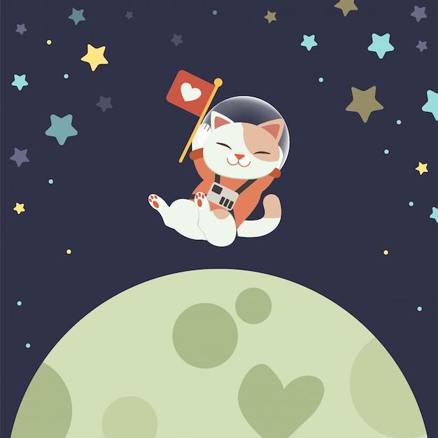 かわいい猫のキャラクターは、宇宙服を着て、宇宙に浮かび、旗を掲げています。