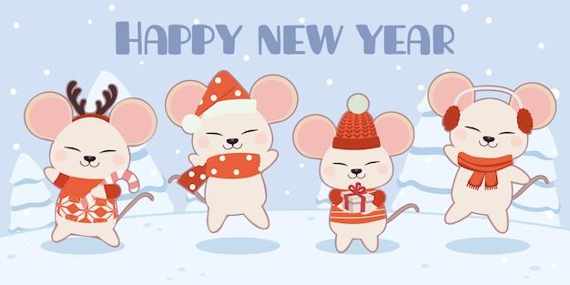 Персонаж милая мышь в рождественские темы набора.