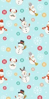 雪だるまとクリスマスボールと雪のシームレスパターン。