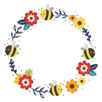 Симпатичное цветочное кольцо и рамка пчелы. характер милая пчела и цветочный венок. персонаж милая пчела в стиле плоский вектор.