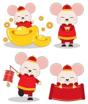 中国の新年のテーマセットのマウスのコレクション。マウスは、お金とクラッカーと紙で中国の服を着ます。フラットベクトルスタイルのかわいいマウスのキャラクター。