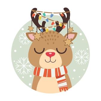 クリスマスの装飾品でかわいい鹿のキャラクター