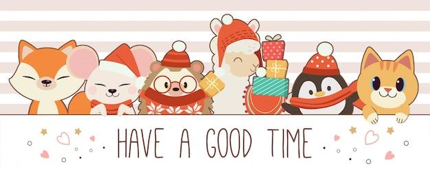かわいいキツネのキャラクターハリネズミアルパカペンギン猫のテキストで楽しい時間を過ごしてください。冬をテーマにしたかわいい動物。フラットスタイルのかわいい動物のキャラクター。