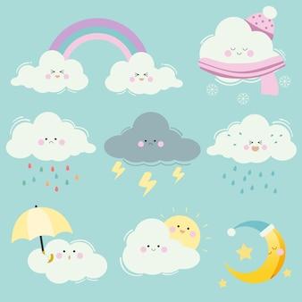 漫画クラウドセットのコレクション。たくさんの感情を持つかわいい白い雲のキャラクター。太陽と月と星と虹と傘のある雲。フラットスタイルのかわいい雲のキャラクター