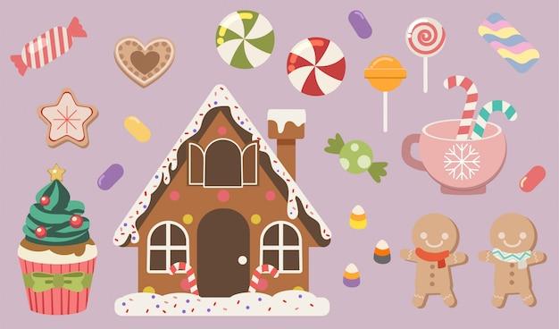 かわいいジンジャーブレッドとキャンディーとクックキーとゼリーとカップケーキとロリポップのセットのコレクション。
