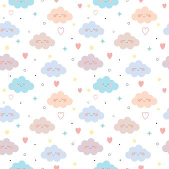 雲と心と白い背景の星のシームレスパターン。